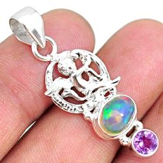 4.06cts natural ethiopian opal amethyst round 925 silver angel pendant r75450