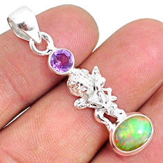 3.97cts natural ethiopian opal oval amethyst 925 silver angel pendant r75468