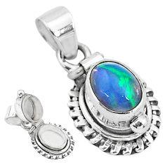 2.97cts natural ethiopian opal oval shape 925 silver poison box pendant t3730