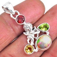 5.64cts natural ethiopian opal peridot 925 silver baby angel pendant r59412