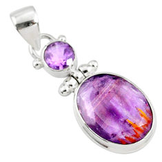 11.07cts natural faceted cacoxenite super seven amethyst silver pendant r70321