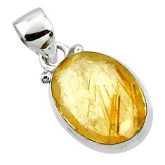 9.22cts natural faceted golden rutile 925 sterling silver pendant jewelry r50681