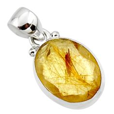 9.22cts natural faceted golden rutile 925 sterling silver pendant jewelry r50682