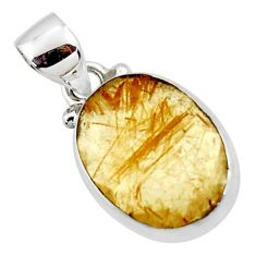 8.68cts natural faceted golden rutile 925 sterling silver pendant r50691