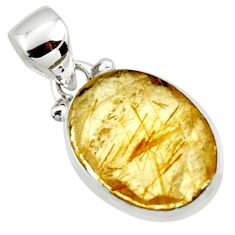 8.70cts natural faceted golden rutile 925 sterling silver pendant r50692