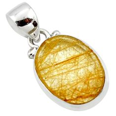 8.73cts natural faceted golden rutile 925 sterling silver pendant r50694