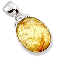 8.68cts natural faceted golden rutile 925 sterling silver pendant r50700