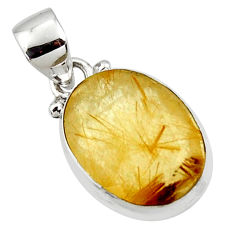 9.72cts natural faceted golden rutile 925 sterling silver pendant r50728