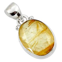 9.12cts natural faceted golden rutile 925 sterling silver pendant r50729