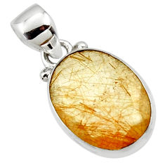8.68cts natural faceted golden rutile oval 925 sterling silver pendant r50683