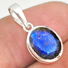 4.00cts natural faceted labradorite 925 sterling silver handmade pendant r82719