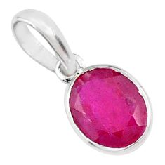 2.84cts natural faceted ruby oval 925 sterling silver pendant jewelry r70826