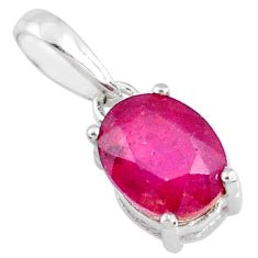 2.77cts natural faceted ruby oval 925 sterling silver pendant jewelry r70830