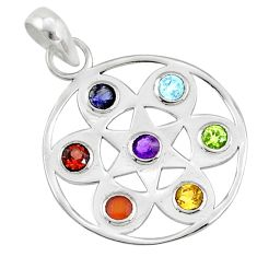 2.59cts natural flower of life multi-gems 925 sterling chakra pendant r65185