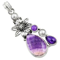 16.25cts natural fluorite amethyst white pearl 925 silver flower pendant d43721