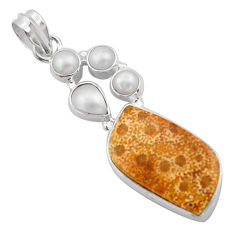 17.18cts natural fossil coral (agatized) petoskey stone silver pendant d46758