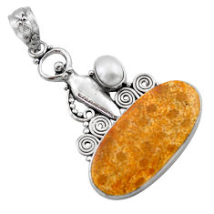 16.17cts natural fossil coral (agatized) petoskey stone silver pendant d46759
