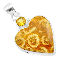 15.72cts natural fossil coral (agatized) petoskey stone silver pendant t30546