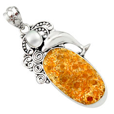 17.20cts natural fossil coral petoskey stone 925 silver dolphin pendant d46718