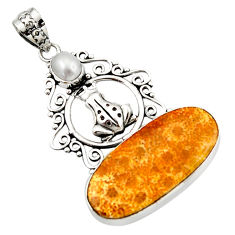 16.92cts natural fossil coral petoskey stone 925 silver frog pendant d46657