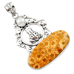 19.99cts natural fossil coral petoskey stone 925 silver frog pendant d46719