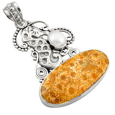 17.18cts natural fossil coral petoskey stone 925 silver seahorse pendant d46621