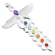 Natural gemstone 925 sterling silver winged caduceus chakra pendant r65432
