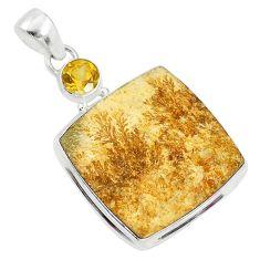 25.00cts natural germany psilomelane dendrite 925 silver pendant t10585