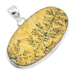 29.78cts natural germany psilomelane dendrite 925 silver pendant t10618