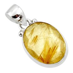 9.22cts natural golden faceted rutile 925 sterling silver pendant r50688