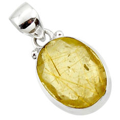 9.57cts natural golden faceted rutile 925 sterling silver pendant r50697