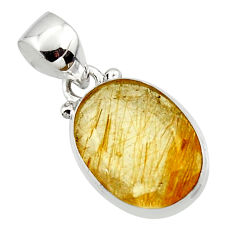 8.95cts natural golden faceted rutile 925 sterling silver pendant r50699