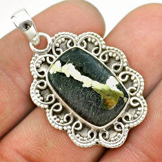 8.40cts natural golden pyrite in magnetite (healer's gold) silver pendant t53363