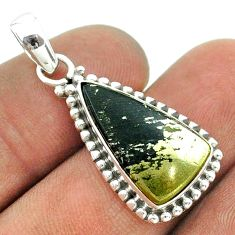 7.30cts natural golden pyrite in magnetite (healer's gold) silver pendant t55983