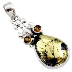 Clearance Sale- 19.82cts natural golden pyrite in magnetite 925 silver pendant d42329