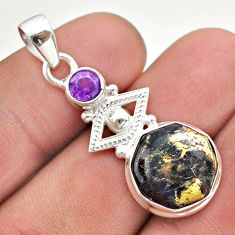 6.55cts natural golden pyrite in magnetite amethyst 925 silver pendant t46414