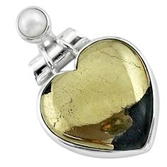 19.72cts natural golden pyrite in magnetite pearl 925 silver pendant t13157