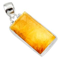 20.65cts natural golden rutile 925 sterling silver pendant jewelry d41622