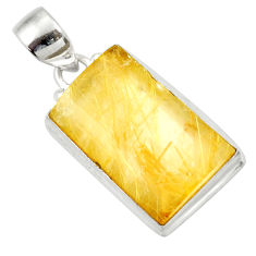 19.68cts natural golden rutile 925 sterling silver pendant jewelry d41629