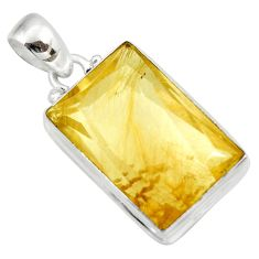 25.00cts natural golden rutile 925 sterling silver pendant jewelry d41638