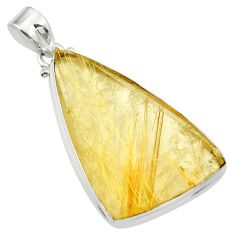 30.88cts natural golden rutile 925 sterling silver pendant jewelry d41641