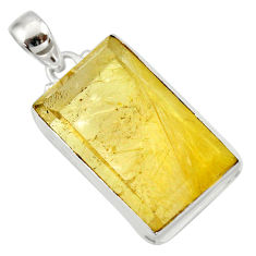 33.68cts natural golden rutile 925 sterling silver pendant jewelry d41657