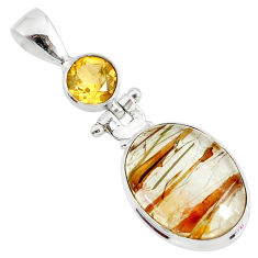 14.72cts natural golden rutile citrine 925 sterling silver pendant r87581