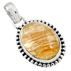 13.27cts natural golden rutile oval 925 sterling silver pendant jewelry r26460