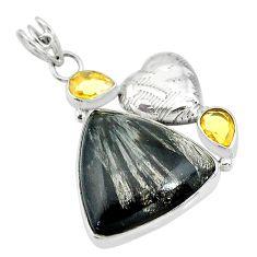 20.86cts natural golden seraphinite (russian) citrine 925 silver pendant t10628