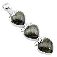 13.73cts 3 hearts golden sheen black obsidian 925 sterling silver pendant t22181