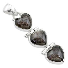 14.23cts 3 hearts golden sheen black obsidian 925 sterling silver pendant t22182