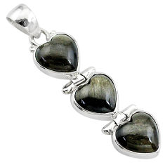 13.67cts 3 hearts golden sheen black obsidian 925 sterling silver pendant t22183