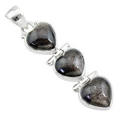 14.03cts 3 hearts golden sheen black obsidian 925 sterling silver pendant t22185