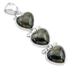 14.57cts 3 hearts golden sheen black obsidian 925 sterling silver pendant t22186